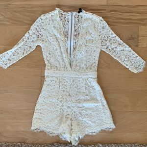 Lace Cream Romper